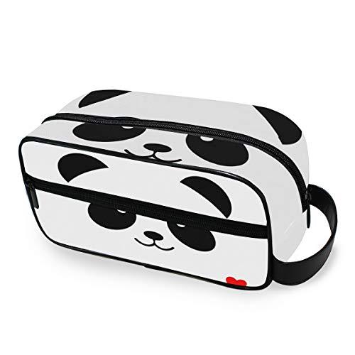Beauty Tools Toilettas, draagbaar, voor op reis, toilettas, leuke panda, zwart, wit, make-up tas