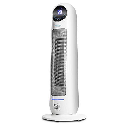 Cecotec Calefactor Baño Cerámico Ready Warm 10100 Smart Ceramic. Vertical, Digital, 2000 W, Termostato Regulable, Protección sobrecalentamiento y antivuelco, Silencioso, Mando a distancia