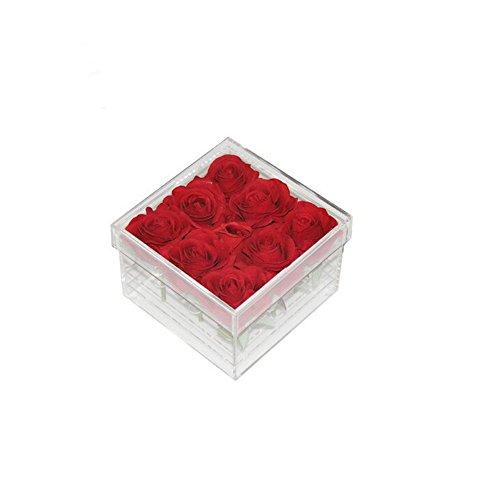 Heldere acryl rozenbloembak kubus vitrine met deksel bruiloft bloem geschenkdoos make-up organisator 9 gaten
