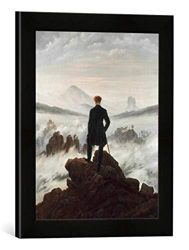 Gerahmtes Bild von Caspar David Friedrich Der Wanderer über dem Nebelmeer, Kunstdruck im hochwertigen handgefertigten Bilder-Rahmen, 30x40 cm, Schwarz matt