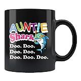 Bonita taza de regalo para tía, tía, tía, tía, tía, tiburon, tiron, tiron, tiburones, doo doo, regalo para tía, tía,...