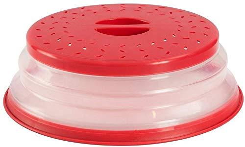 Nifogo Copertura per microonde pieghevole coperchio per microonde antischizzi Pieghevole Fruttiera,per Riscaldamento a Microonde e Antispruzzo (Rosso)
