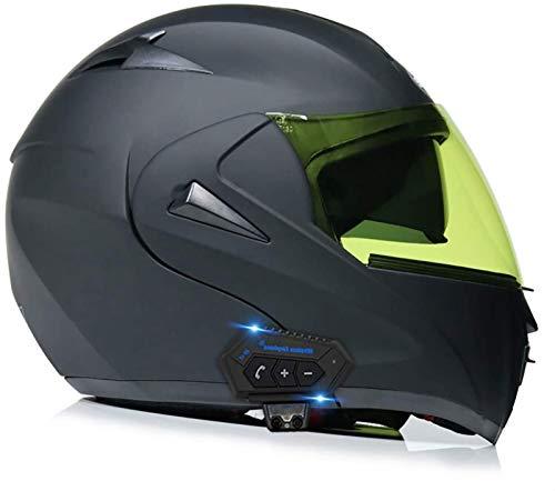 Cascos abatibles para adultos casco con bluetooth casco integral modular casco integral de motocicleta con casco abatible antivaho, casco de ciclomotor de doble visie con certificado ECE J,XL