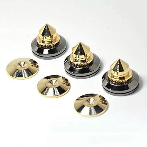 博 オーディオ 音質 スピーカー 向上 高さ 調整 可能金属 製 金メッキ インシュレーター スパイク 受け インシュレーター スピーカー オーディオ 向上 改善 付属のブチルゴムシート(8個セット)