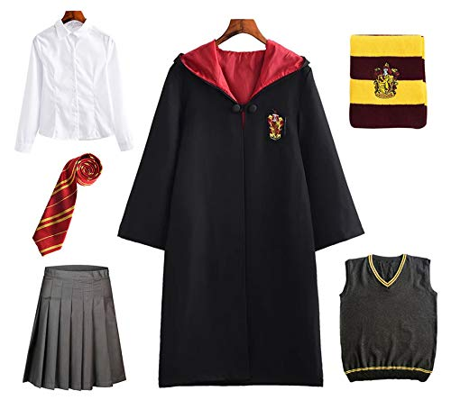 FStory&Winyee Harry Potter Kostüm Kinder Erwachsene Umhang Damen Gryffindor Hufflepuff Ravenclaw Slytherin Fanartikel Fasching Outfit Set Cape,Krawatte,Hemd,Hermine Rock,Weste,Schal