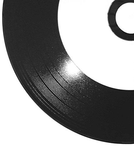 25 Bedruckbare Vinyl CD-Rohlinge schwarz Ritek Pro CD-R 700MB/80min Inkjet Printable weiß mit Vinyloptik Oberfläche in Papierhüllen mit Folienfenster