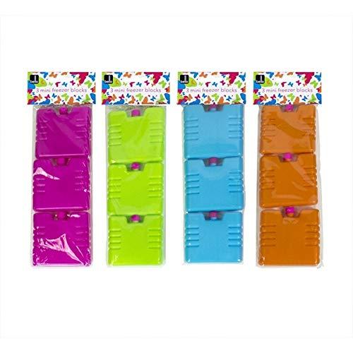 Set van 3 Mini Vriezer Blokken, Groen, Oranje, Blauw of Roze
