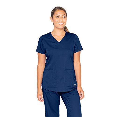Grey#039s Anatomy Women#039s Two Pocket VNeck Scrub Top with Shirring Back Indigo Large