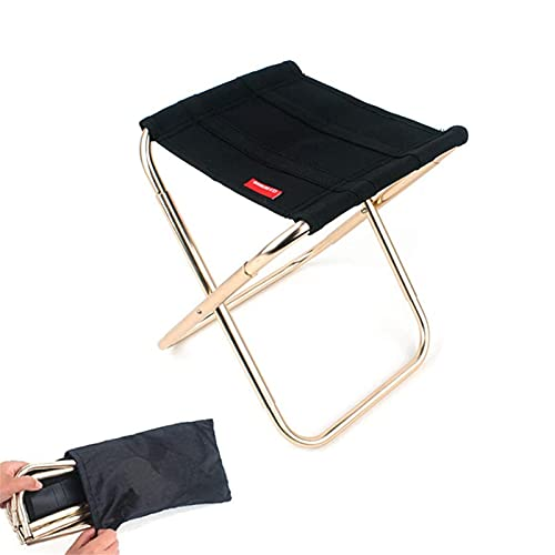 Taburete Plegable Portátil Mini Sillas Camping Plegable de Aluminio Taburete Plegable con Bolsa para Pesca Senderismo Acampada Picnic Viaje al Aire Libre Negro