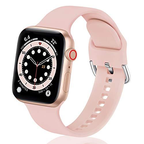 WFEAGL コンパチブル Apple Watch バンド シリコン スポーツバンド 通気性 防水 防汗 アップルウォッチ ベルトコンパチブル iwatch SE ,Series 6 5 4 3 2 1に対応 (38mm 40mm, ピンクの砂)