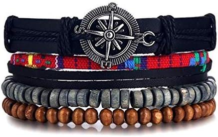 TranTran NTP Vintage Black Bead Bracelets For MenHollow Triangle Leather Bracelet & Bangles Multilayer Wide Wrap Jewelry