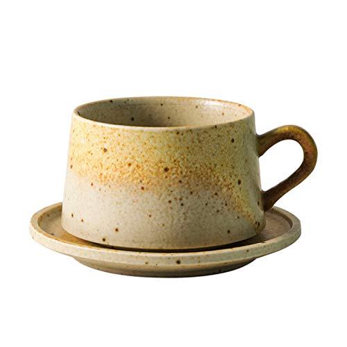 EVFIT Juego de tazas y platillos de café y plato de cerámica japonesa de cerámica retro taza de café (color: taza de café de gres, tamaño: un tamaño)