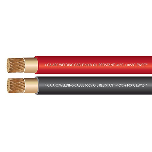 4 Gauge Premium Extra Flexible Welding Cable 600 Volt - EWCS Brand - COMBO PACK -10 FEET EACH BLACK+RED - Made in the USA!