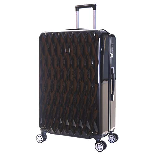 Karabar Hard Shell Extra Large Suitcase Luggage Bag XL 76 cm 4.2 kg 100 litres Polycarbonate PC with 4 Spinner Wheels and Integrated TSA Number Lock, Diamond Black