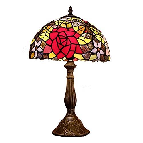 MISLD Tiffany Lámparas para Sala De Estar Vidrio Rosa Dormitorio Lámpara De Noche Tiffany Lámpara De Mesa Tiffany Lámparas