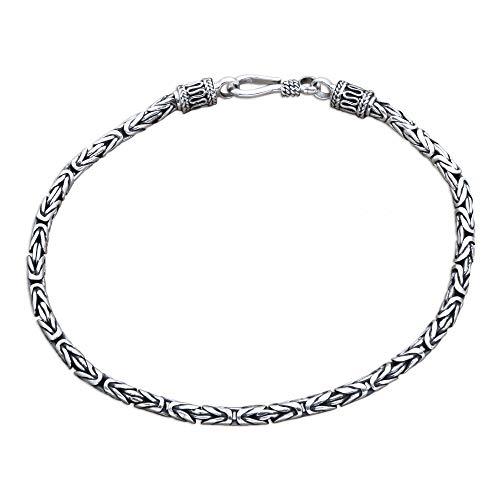NOVICA .925 Sterling Silver Men's Chain Link Bracelet, 8.5', Borobudur Collection II'