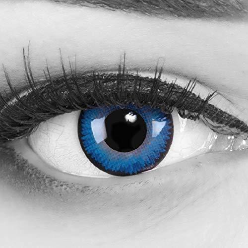 Funnyens farbige blaue Crazy Fun Kontaktlinsen Space Blue perfekt zu Fasching, Karneval und Halloween mit gratis Behälter + 60ml Pflegemittel Topqualität zu Karneval und Halloween!