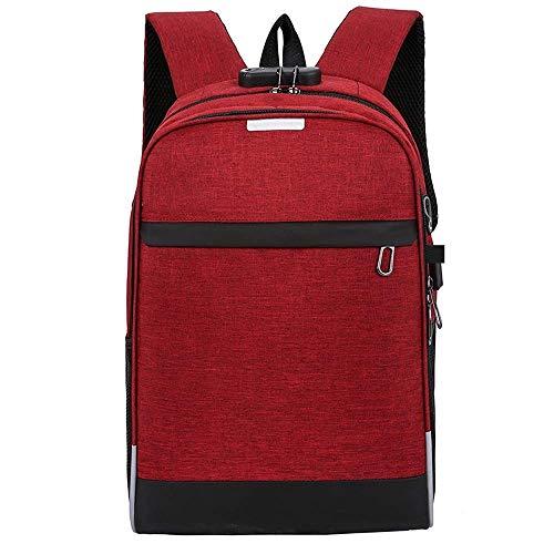 YSA Zaino per Laptop Zaino Multifunzione Rosso Vino Zaino per Uomo USB Borsa da Viaggio per Donna Borsa da Viaggio Impermeabile Casual Materiale Tessuto Oxford, 20-35L