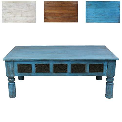 Oriental Galerie Couchtisch Wohnzimmertisch Holztisch Beistelltisch aus Indien Shabby Chic Türkis Hellblau 120 cm S3