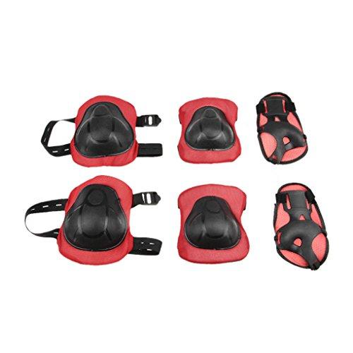 6 in 1 Knieschoner Set Schutzausrüstung Kinder Knieschützer Handgelenkschoner Ellbogenschützer Set für Outdoor Sport Schutzausrüstung Protektoren Inliner Schützer Skateboard Roller Radfahren SCHWARZ