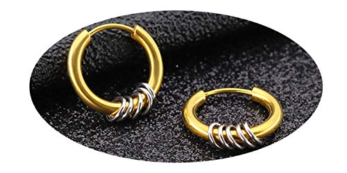 Daesar Pendientes de Aro Acero Inoxidable Pendientes de Mujer Pendientes Circulos Pendientes Oro Plata-16mm