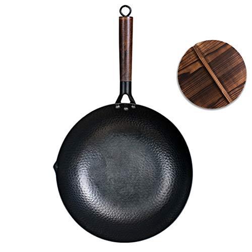 SBSNH Ferro Wok di alta qualità tradizionale pentole tradizionale ferro wok non-stick pan non rivestimento padella (Size : Wok with lid)