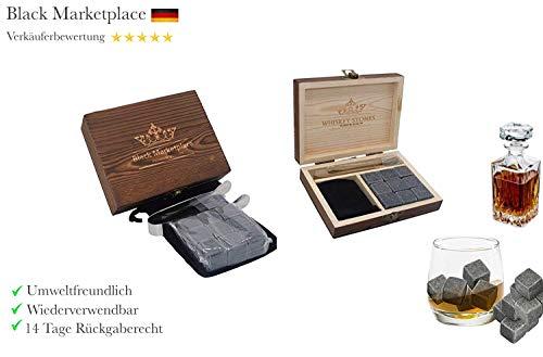 Premium Whisky Steine Set - 9 Eiswürfel wiederverwendbar aus Speckstein mit Samtbeutel, hochwertiger Holzbox und Edelstahl Zange, Geschmacksneutral, Kein Verwässern für Whiskey, Wodka, Gin & Mehr