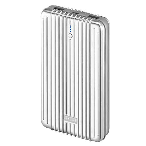 JIEXIAO 20000Mah Mobile Power Bank Super-Capacity Portable Charger with Dual Fast Charging External Battery Packs, Compatible with A Variety of Devices,White