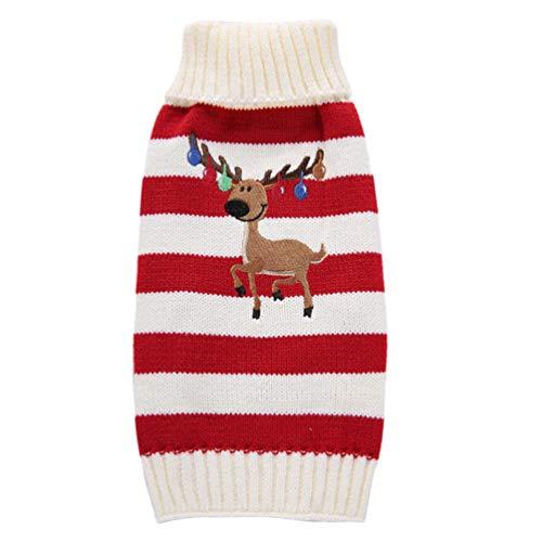 Balacoo Hundepullover, weihnachtliches Rentier-Motiv, Weihnachtsmuster, Weihnachtsmuster, Weihnachtskostüm, Größe XS (rot)