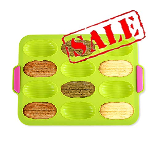 KeepingcooX Plaque à 12 madeleines, Plaque de Cuisson pour madeleines, Moule à madeleines Anti-adhésif, Siloxane, Vert, 34 x 24 x 1 cm