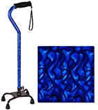 "NOVA Designer Quad Cane, Lightweight Four Legged Cane with Soft Grip Handle & Wrist Strap, Height (for users 4'11"" - 6'3"") and Left or Right Adjustable, New Blue Waves Design, Small"
