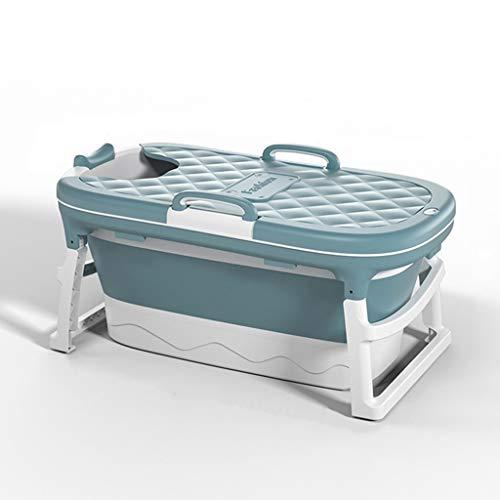 Bañera para Adultos Bañera Plegable Portátil Hogar Plato de Ducha Grande para Bañera (Color : Blue, Size : With cover)