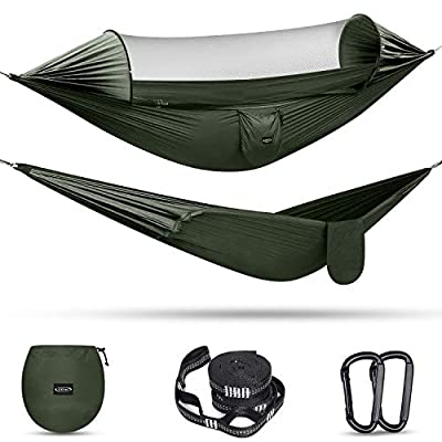 G4Free Double Camping Hammock with Mosquito Net Easy Set Up Parachute Hammocks with Tree Straps and Carabiners Swing Hammock Bed for Outdoor Backpacking Backyard Hiking