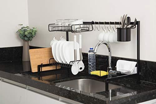 Cozinha Autosustentável Suspensa Modular Escorredor Sem furos 20 Peças Aço (preto)