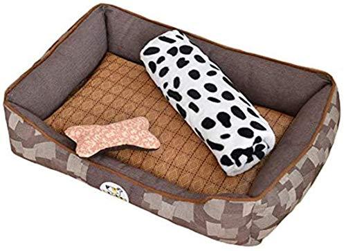 Leifeng Tower Luxury Denim Dogs Bed, Premium plysch hundsängar, Mycket mjuk hundsäng Avtagbar klädsel för djur soffa, helt tvättbar, med matta, leksak, filt, brun, M