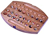 LOGOPLAY Bao - Hus - Kalaha - kleines Reisespiel für unterwegs - 30cm lang - Steinchenspiel - Edelsteinspiel - oval aus Samena-Holz