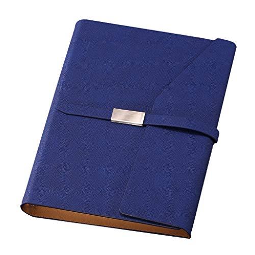 SFF Diario de bolsillo A5, tapa dura, papel grueso de alta calidad, 100 g/m², minimalismo, arte, rellenable, hojas sueltas, de piel sintética, idea de regalo, cuadernos de oficina (color: azul)