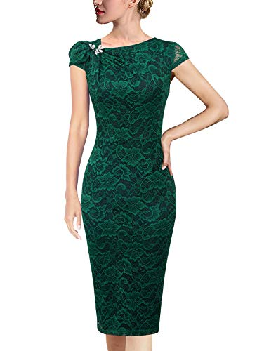 VFSHOW Womens Green Floral Lace Pleated Asymmetric Bow Neck Cocktail Party Bodycon Pencil Sheath Dress 5326 GRN S