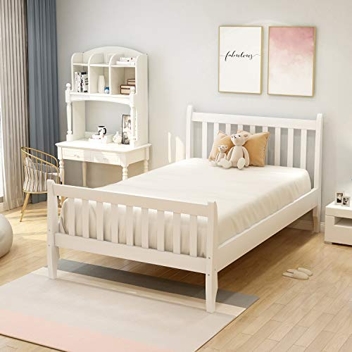 Merax Solid Wood Bed Frame with Headboard and Footboard/No Box Spring Needed/Easy Assembly for Kids Platform, Twin, White