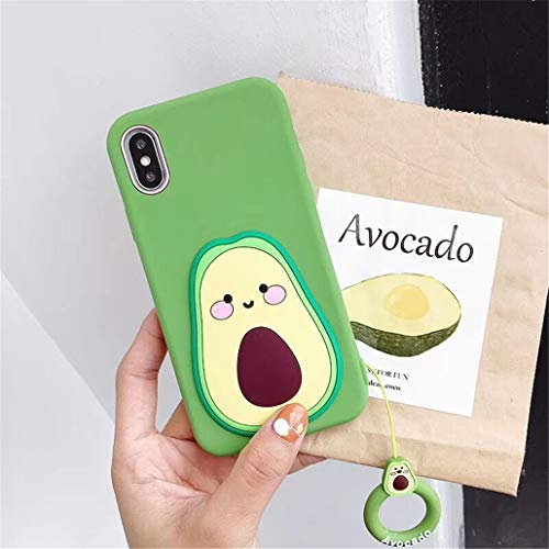 "Coralogo for iPhone 6/7/8/6S/SE 2020 Case,3D Cute Cartoon Funny Fruit Soft Silicone Character Design Skin Kawaii Fashion Cool Fun Cover Cases for Girls Teens Kids iPhone 6/7/8/6S/SE 2020 4.7""(Avocado)"