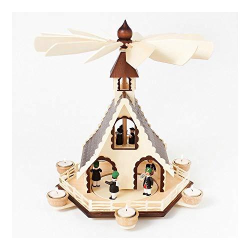 Colours-Manufaktur Weihnachtspyramide aus dem Erzgebirge mit Teelichtern * Modell: Bergmänner + Sänger *