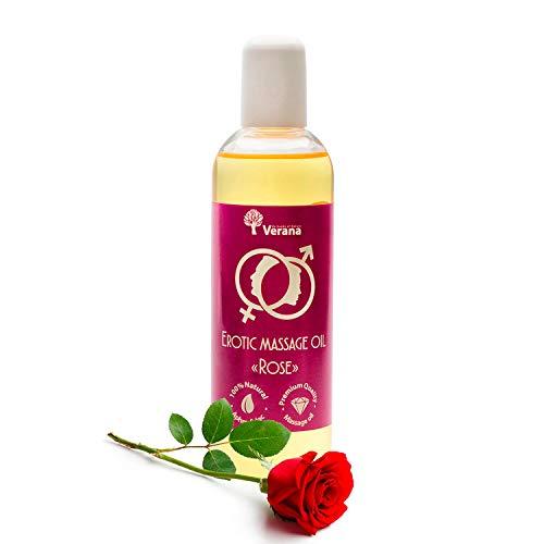 Verana Rose Massage-Öl, Naturkosmetik Körper-Öl, Alle Haut, Für erotische, sexuelle und sinnliche Massagen 250ml