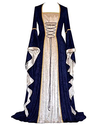 PengGengA Vestito Medievale Manicotto Allentato Benda da Donna Abito Lungo retrò Costume di Halloween Marina XL