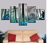JYCXOZ Pintura de Cinco Paneles de inyección de Tinta para decoración del Dormitorio del hogar, Pintura de Bosque de Niebla, Pintura de Arte de Cinco hechizos