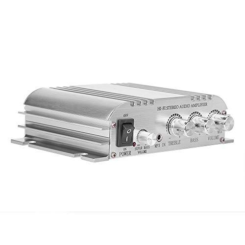 Tosuny Mini Amplificador, Amplificador de Auto 12V 2.0 + Subwoofer Hi-Fi 2.1 Canales Sonido Receptor Estéreo de Audio para Audio de Automóvil, Cine en Casa, Altavoces de Computadora, MP3
