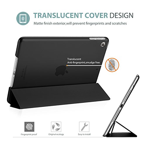 ProCase iPad Air Ultra Dünn Smart Hülle, Leichte Stand Schutzhülle Shell mit Translucent Frosted Rückhülle für Apple iPad Air (A1474 A1475 A1476) –Schwarz