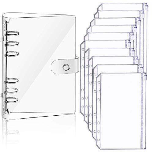 A5 - Funda para cuaderno de PVC suave y transparente y 10 bolsas de hojas sueltas A5, con hojas sueltas, para carpetas, bolsillos impermeables (transparente)