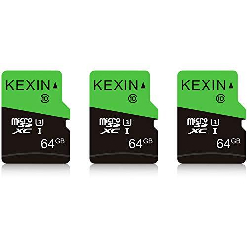 KEXIN 64GB Schede Micro SD Set da 3 Scheda di Memoria MicroSDXC Velocità fino a 85 MB/sec Classe 10 UHS-1 Scheda MicroSD TF Scheda SD Card per Telefono, Fotocamera, Sistema di Sicurezza (Nero Verde)