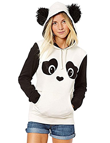 WuLun Women's Cute Panda Print White and Black Fleece Hoodie Sweatshirts Tops Pullover (X-Large, Black&White)