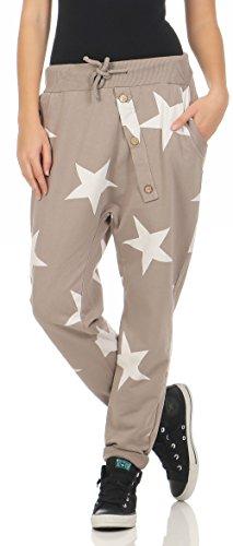 Malito Damen Jogginghose mit Knopfleiste | Sporthose mit Sternen | Baggy zum Tanzen | Sweatpants - Trainingshose 3303 (Fango)